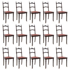 19th Century Set of 15 Neo-Gothic Dining Chairs in Ebonized Wood with Upholstery