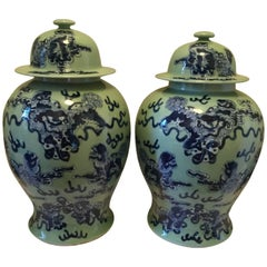 Pair of Chinese Export Baluster Jars with Lids