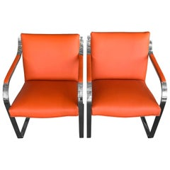 Pair of 1970s Brueton Stainless Steel Chairs Redone in Hermes Toned Leather