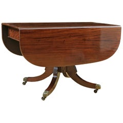 American Sheraton Centre-Pedestal, Drop-Leaf Breakfast Table in Mahogany