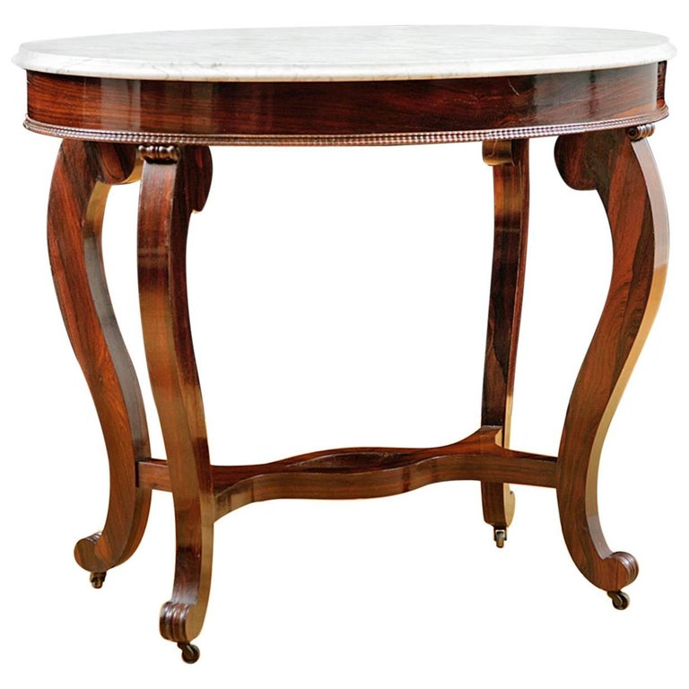 Salon Table in Rosewood with Carrara Marble, Attributable to Meeks & Sons, NY