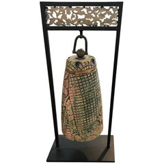 Unique Tony Evans Ceramic Bell on Iron Stand