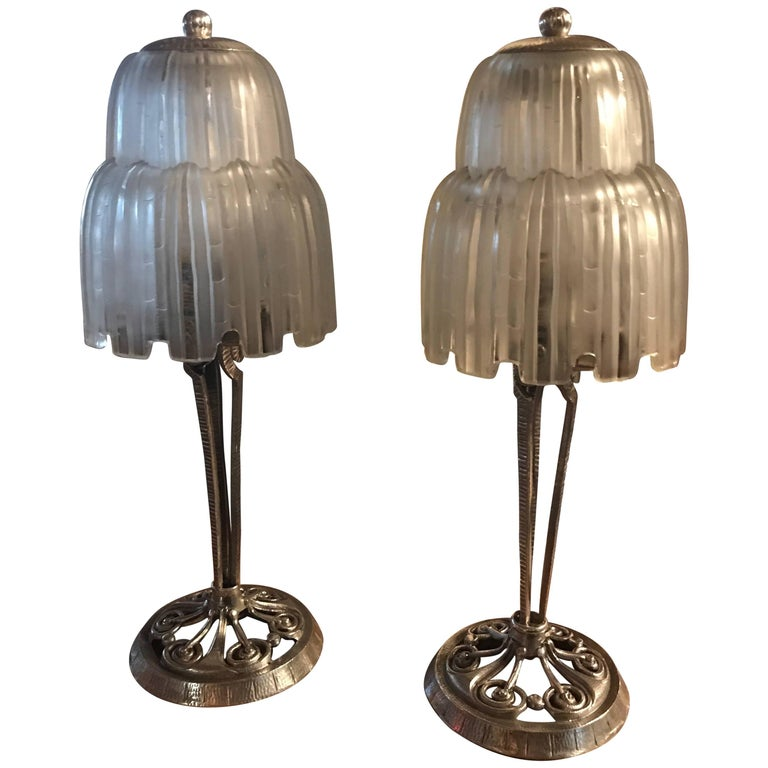 Sabino Glass Art Deco Pair of Table Lamps