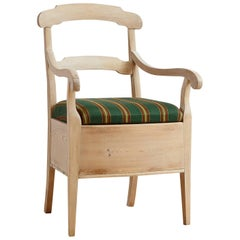 North German Potty Chair in Pine with Chalk Finish and Upholstered Seat, c. 1820
