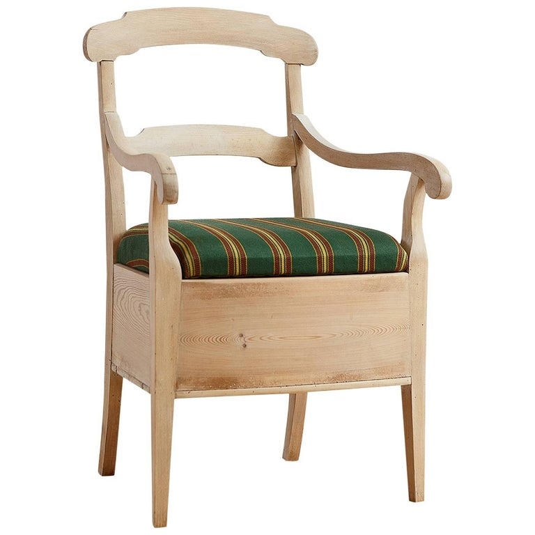 Swedish Potty Chair In Pine With Painted Chalk Finish And