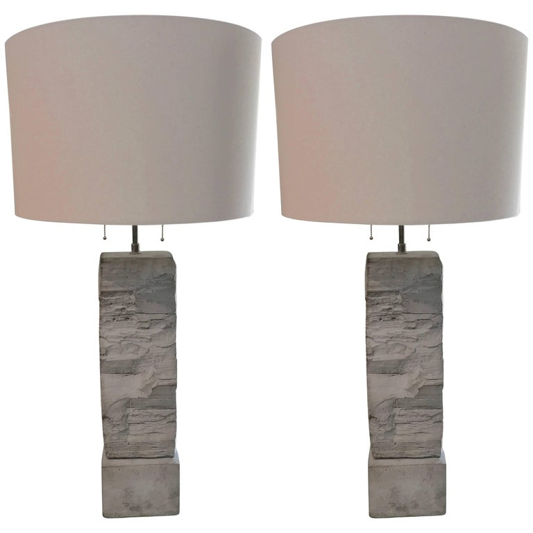 Pair of Fabulous Cast Stoneware Rock Shaped Lamps Marked Ap For Sale