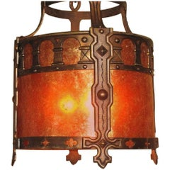 Large Bronze Spanish Revival Drum Fixture