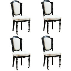 Set of Four French Napoleon III Dining Chairs with Upholstery, circa 1870