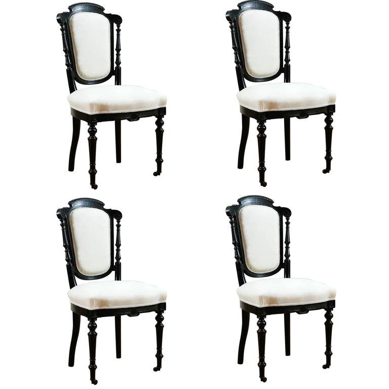 Set of Four French Napoleon III Dining Chairs with Upholstery, circa 1870 For Sale