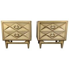 Pair of Hollywood Regency Quilted Front Two-Drawer Stands