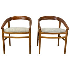 Classic Danish Modern Oak and Curved Teak Armchairs by H. Brockmann-Petersen