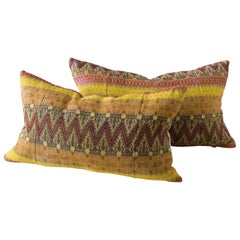 Contemporary Artisan Hand-Loomed Pillows, Yellow Pumpkin Olive Maroon