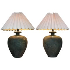 Large Pair of Southwestern Table Lamps by Casual Lamps of California