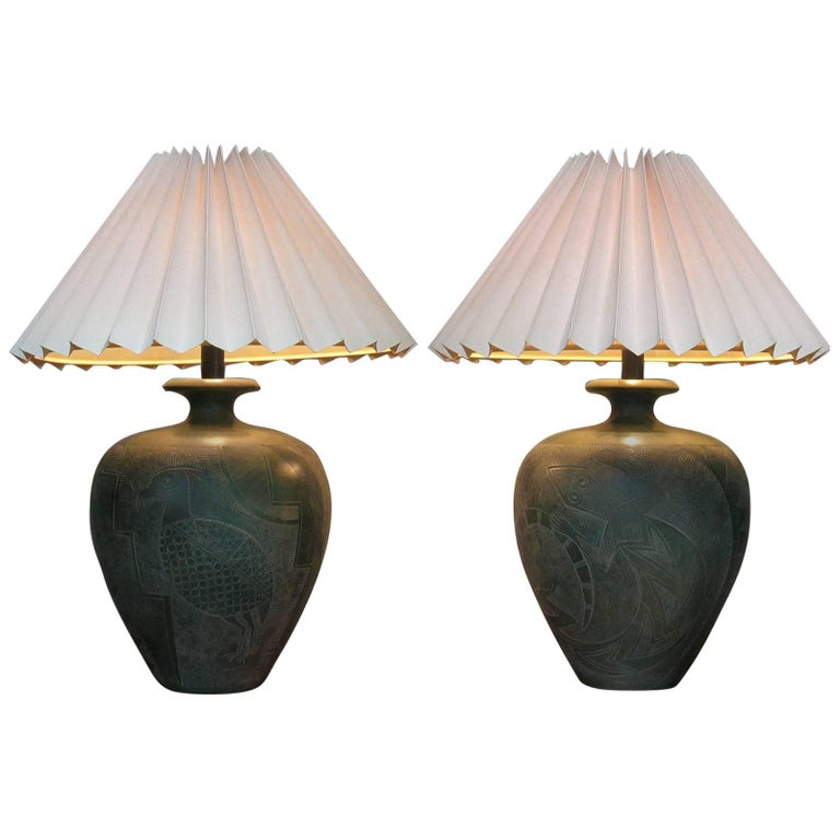 Large pair of southwestern table lamps by casual lamps of large pair of southwestern table lamps by casual lamps of california for sale aloadofball Image collections