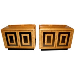 Nice Pair of Bird's-Eye Maple Burl and Mirror Nightstands by Romweber