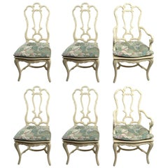 Set of Six White Lacquer Queen Anne Dining Chairs