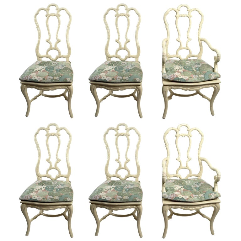 Set of Six White Lacquer Queen Anne Dining Chairs For Sale