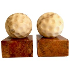 Pair of Vintage Marble Golf Ball Bookends with Red Marble Bases
