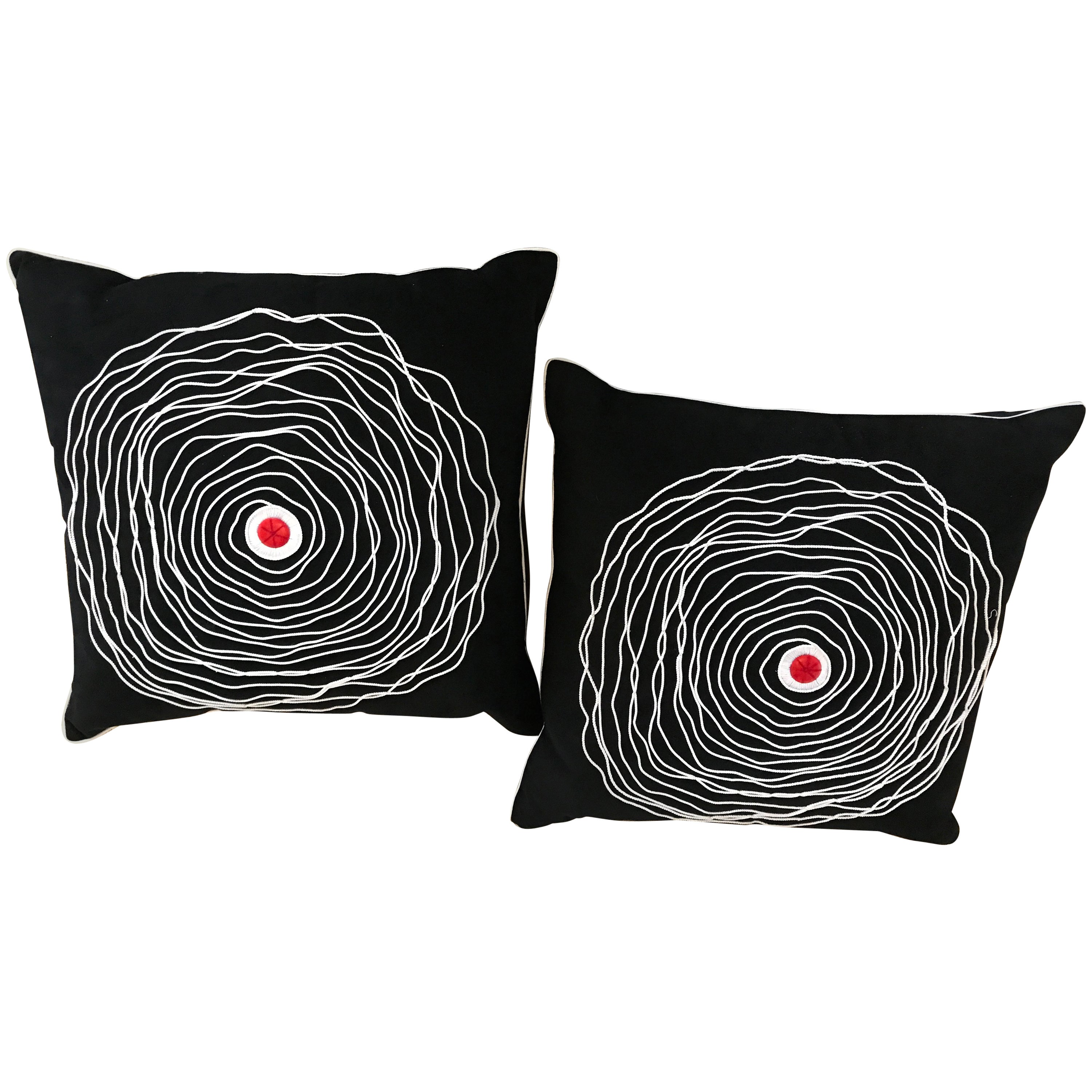 Pair of Black and White Modern Art Decorative Embroidered Cord Pillows