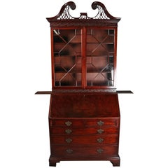 Antique Federal Inlaid, Carved & Filigree Mahogany Secretary Bookcase