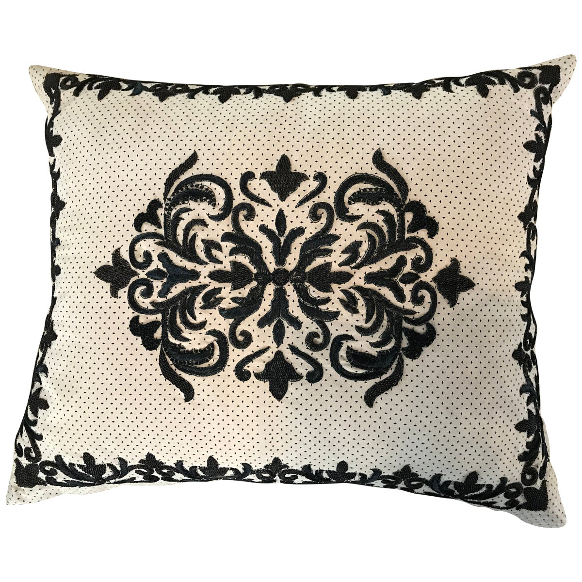 Chic Sand and Black Ultra Suede Heavily Embroidered Decorative Pillow