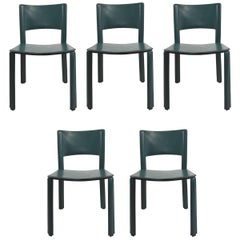 Set of Leather Dining Chairs by Cidue