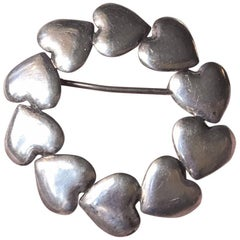 Rare Danish Art Deco Silver Heart Brooch by Hans Hansen, Denmark, 1930s