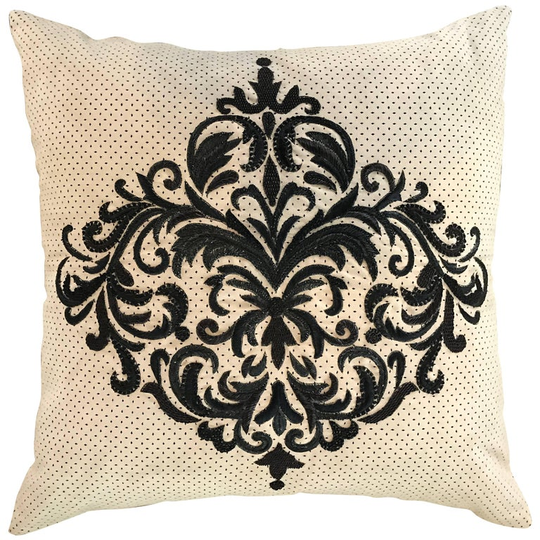 Perforated Ultra Suede Sand and Black Embroidered Decorative Pillow For Sale at 1stdibs