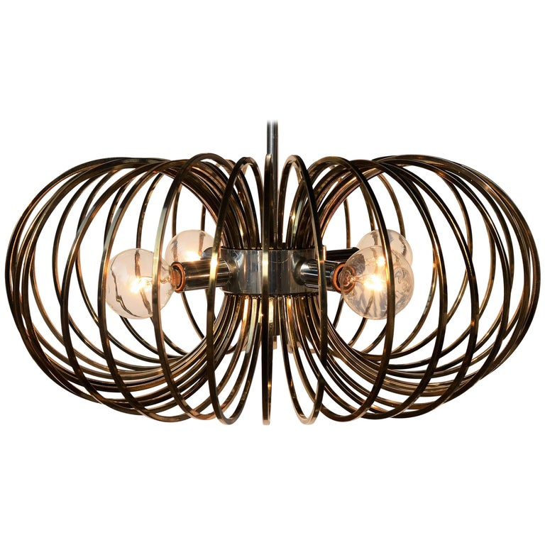Sciolari Brass and Chrome Cage Pendant Light by Lightolier