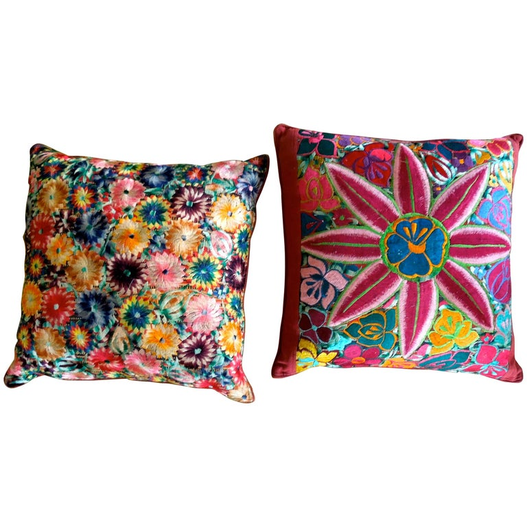 Pair of Beautifully Intricately Embroidered Floral Decorative Pillows For Sale at 1stdibs