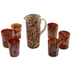 Set of Red Orange Murano Glass Pitcher with Six Tumblers
