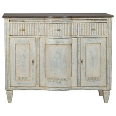 19th Century Painted Serpentine Buffet Cabinet