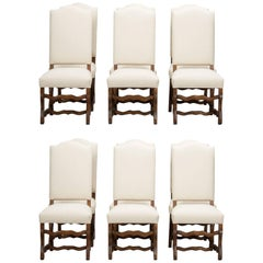 Set of 12 Os de Mouton Chairs with New Upholstery