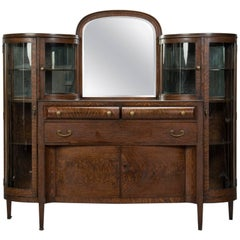 American Arts & Crafts Oak and Curved Glass Cabinet