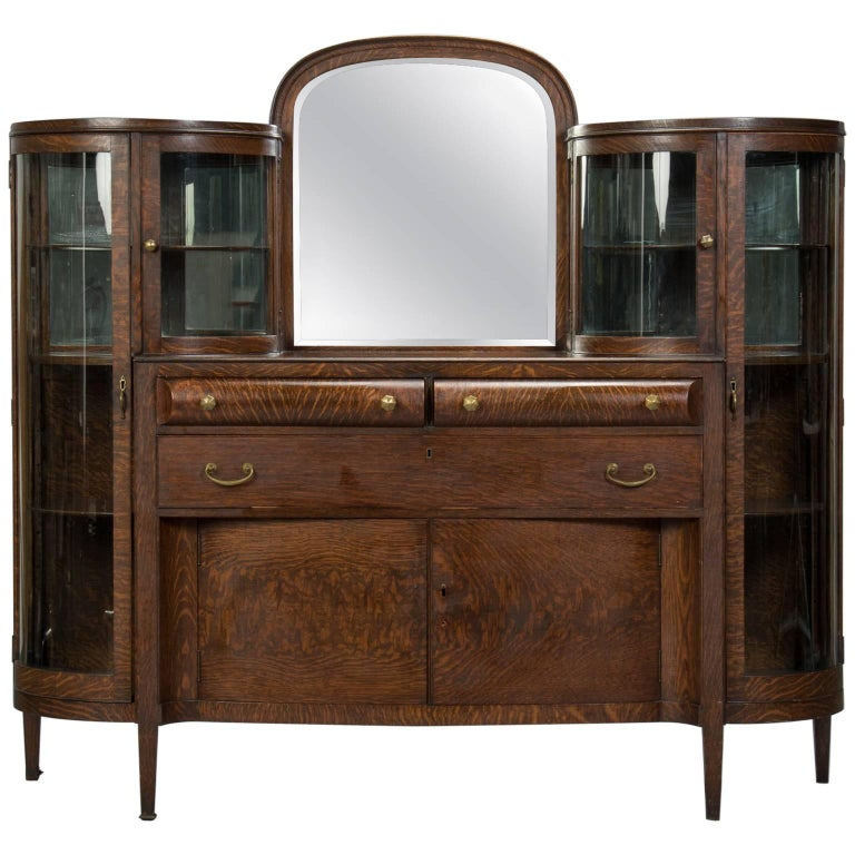 American Arts And Crafts Oak And Curved Glass Cabinet For