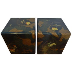 Pair of Beautiful Vintage Modern Black and Gold Side or End Tables
