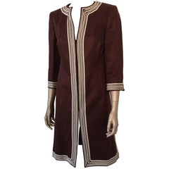 Escada Linen Chocolate Brown Caftan Dress Coat