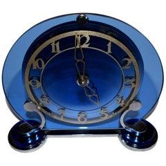 Art Deco English Blue Glass and Chrome Clock