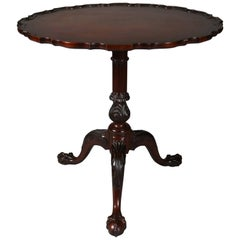 Antique American Chippendale Carved Mahogany Pie Crst Tilt-Top Table