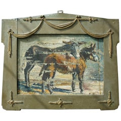 Folk Art Painting of Donkeys