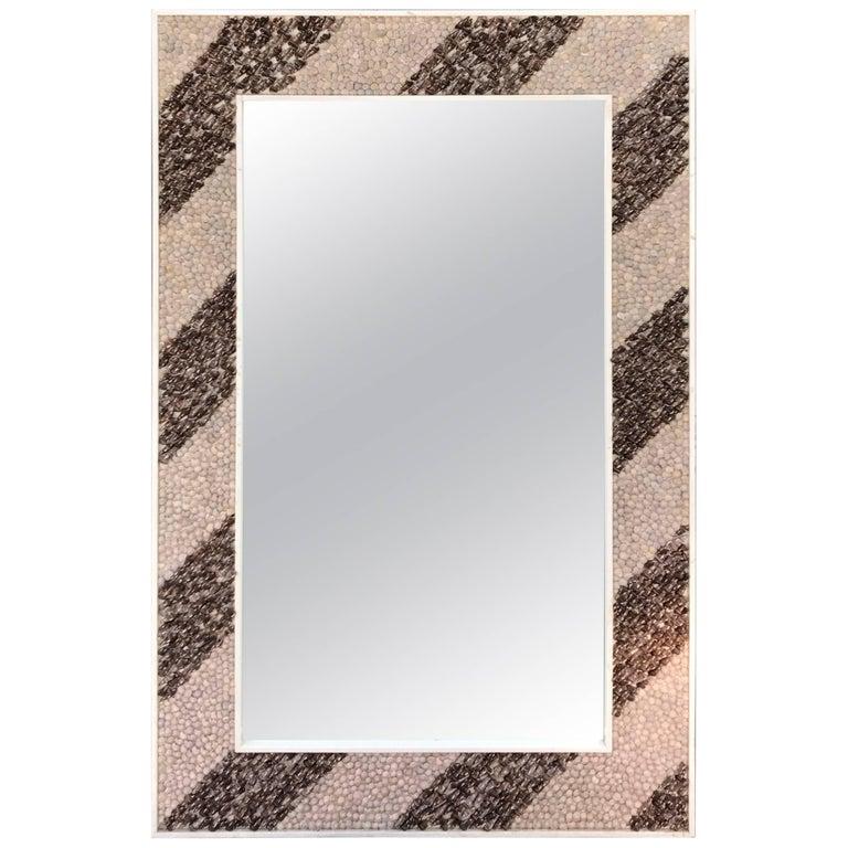 Rectangular Shell Mosaic Frame Mirror Art