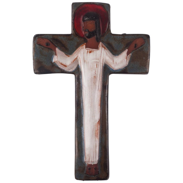 Wall Cross in Ceramic, Brown, Blue, White, Red, Handmade in Belgium, 1970s For Sale