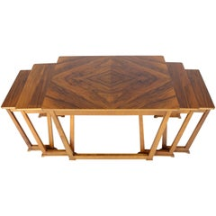 Set of Five Burl Walnut Swedish Nesting Tables