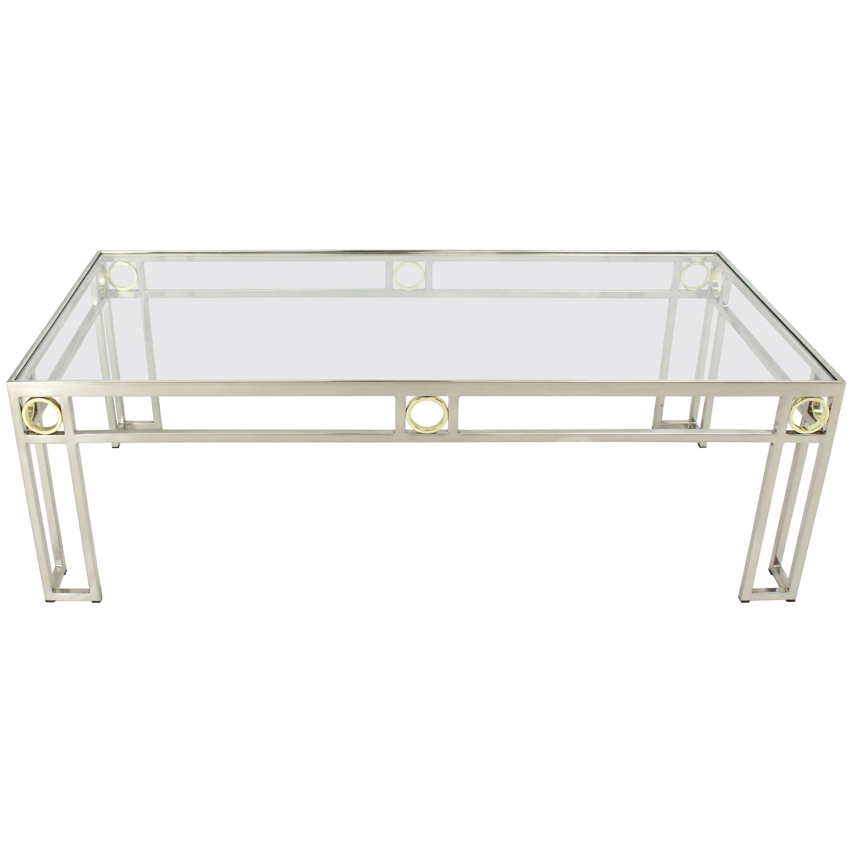 Brass Chrome Glass Rectangular Coffee Table