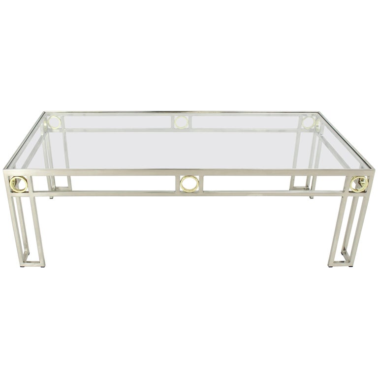 Brass Chrome Glass Rectangular Coffee Table For Sale
