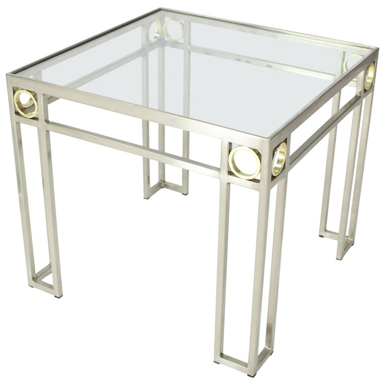 Square Brass Rings Chrome Frame Shape Base Glass Top Side Table For