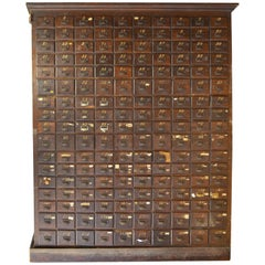 Late 18th Century, Oak Card File Cabinet Storage with 170 Drawers