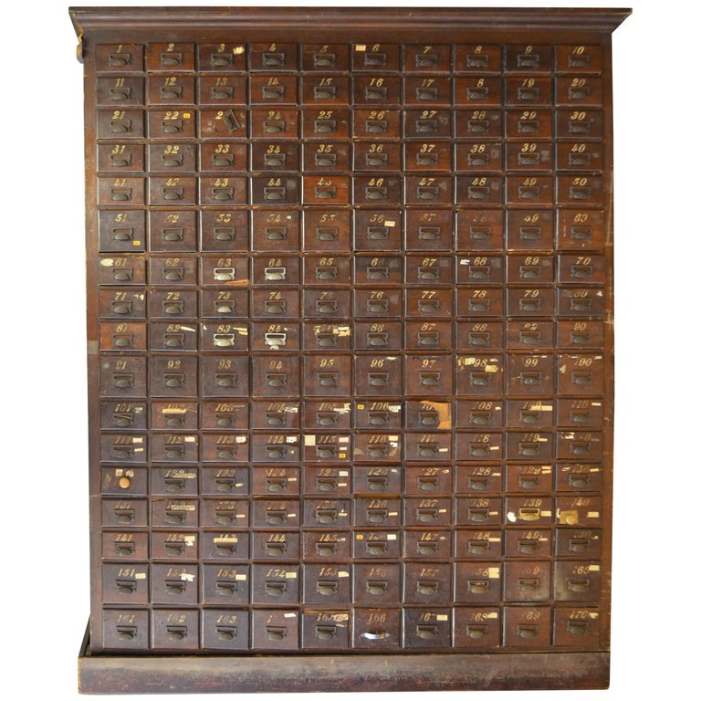 Late 18th Century, Oak Card Catalog File Cabinet Storage with 170 Drawers