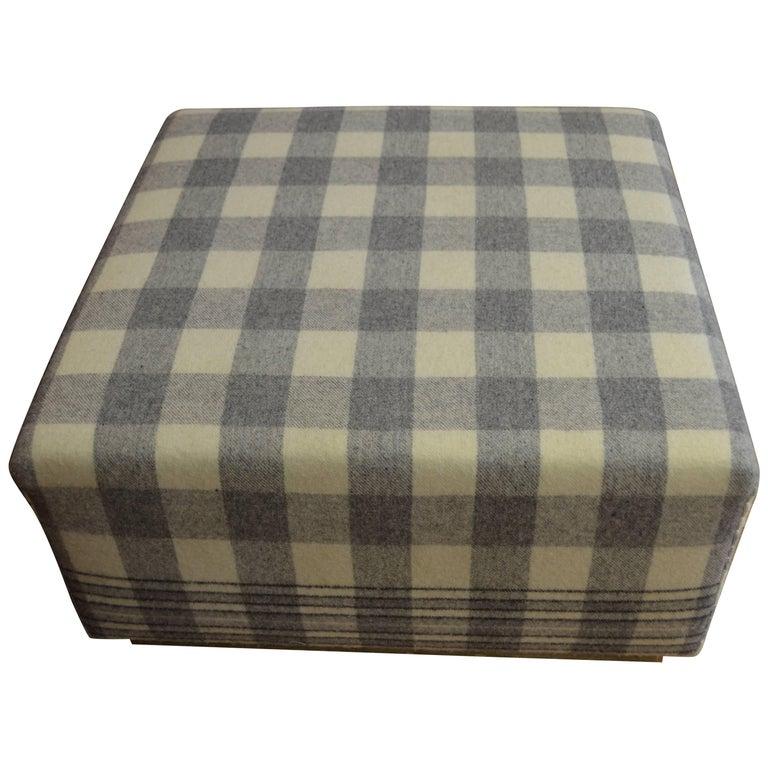 Ottoman Upholstered in Vintage Wool Blanket on Barn Board Wood Base