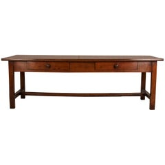 Early 19th Century French Farm Table with H Stretcher